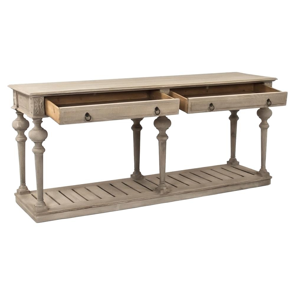 55d651397403b Pinault French Country Grey Oak Console | Kathy Kuo Home