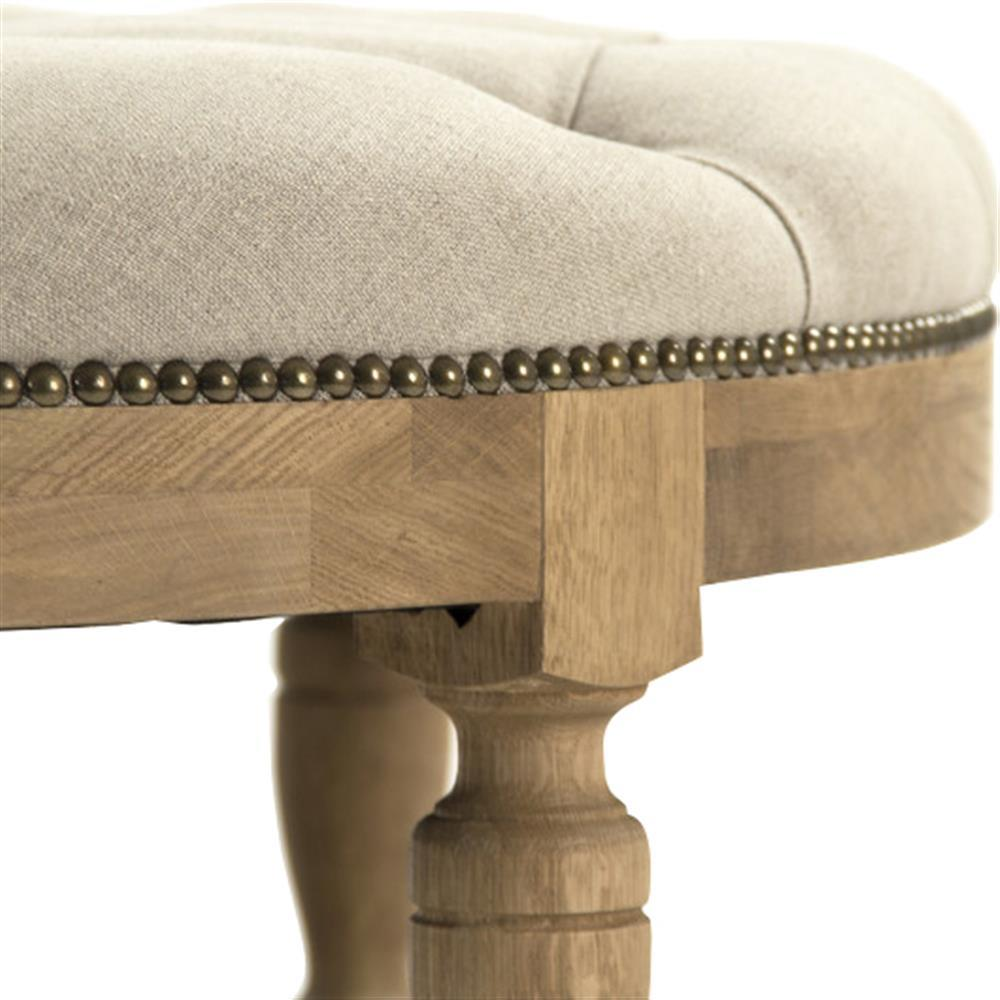 French Country Ottoman Coffee Table: Talia French Country Natural Oak Linen Tufted Nailhead