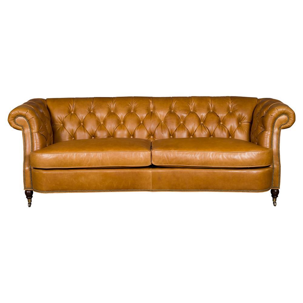 Modern Nailhead Sofa: Vanguard Brit Modern Classic Brown Leather Tufted Nailhead