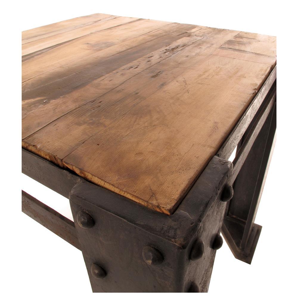 Lexington Chunky Chrome Coffee Table: Rigger's Reclaimed Teak Wood Chunky Leg Coffee Table