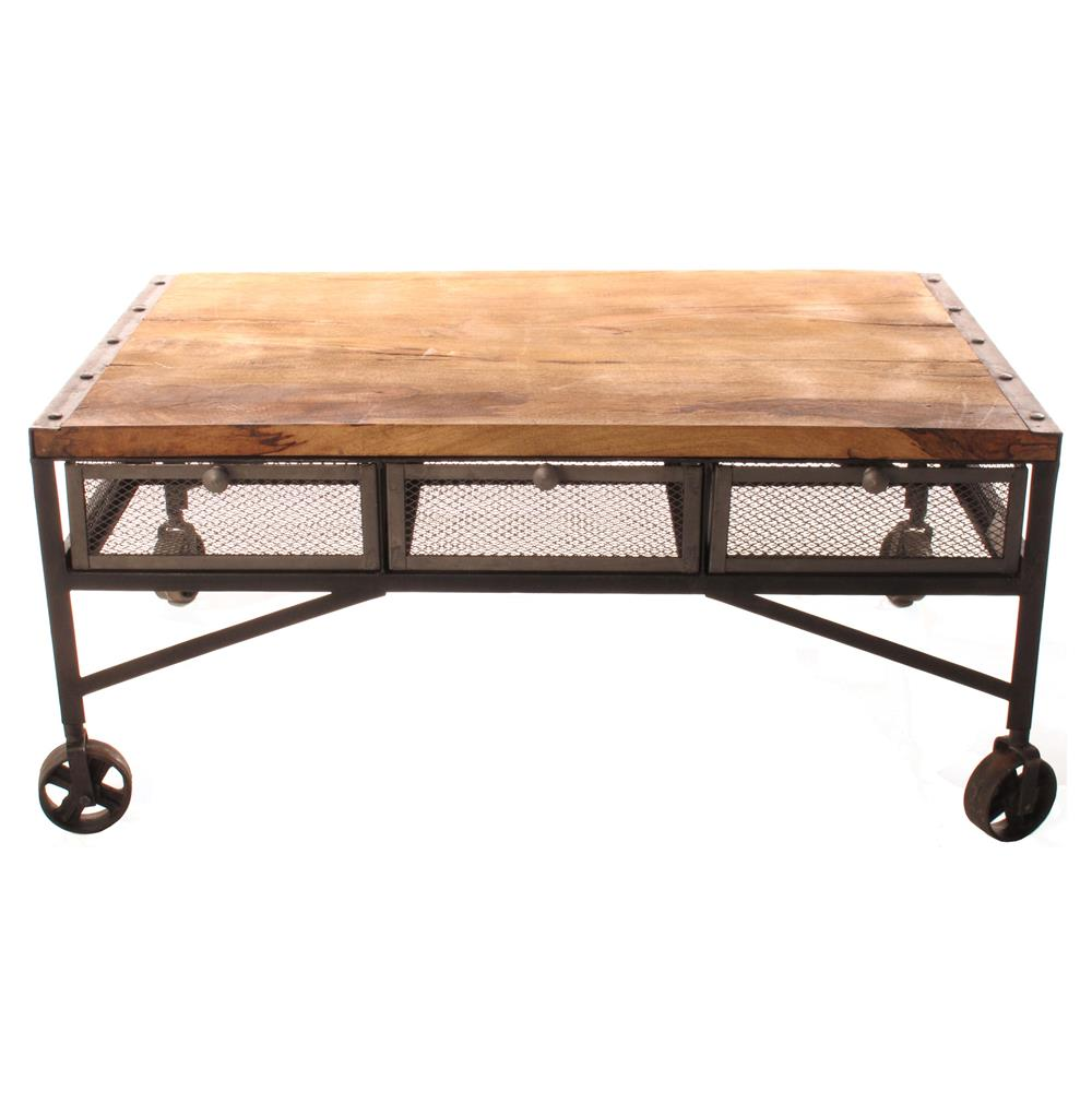 Tribeca industrial mesh drawer caster wheel coffee table for Coffee tables on wheels