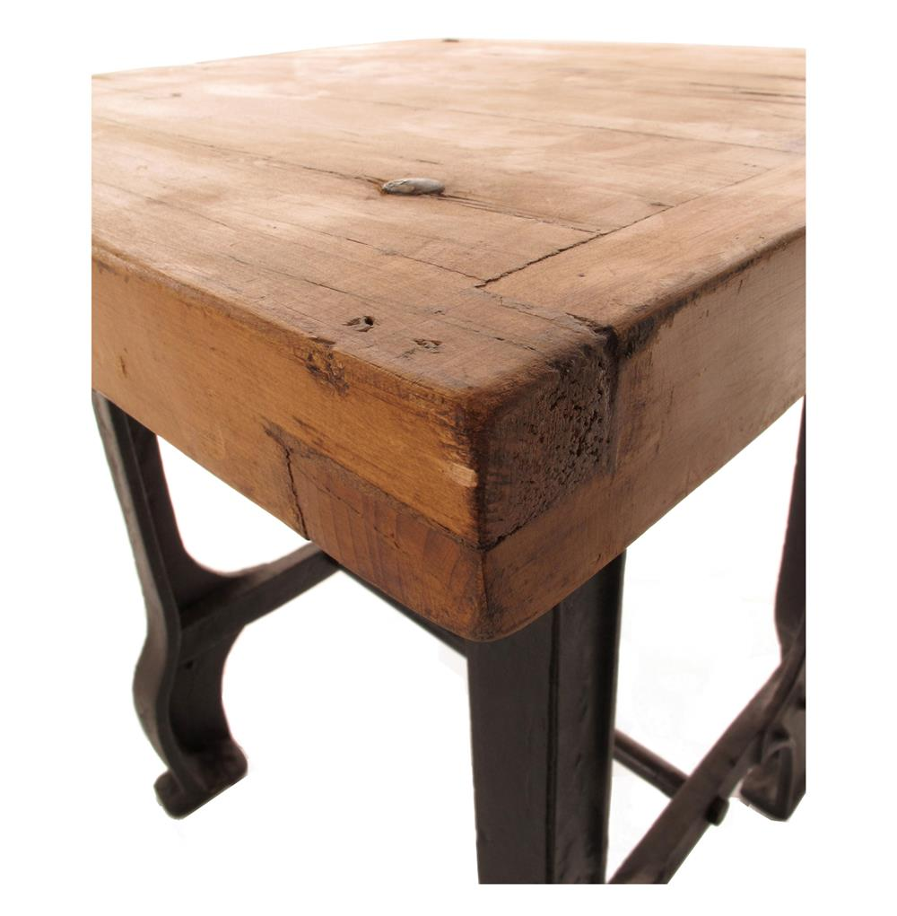 Foundry reclaimed wood cast iron base end table kathy for Cast iron end table