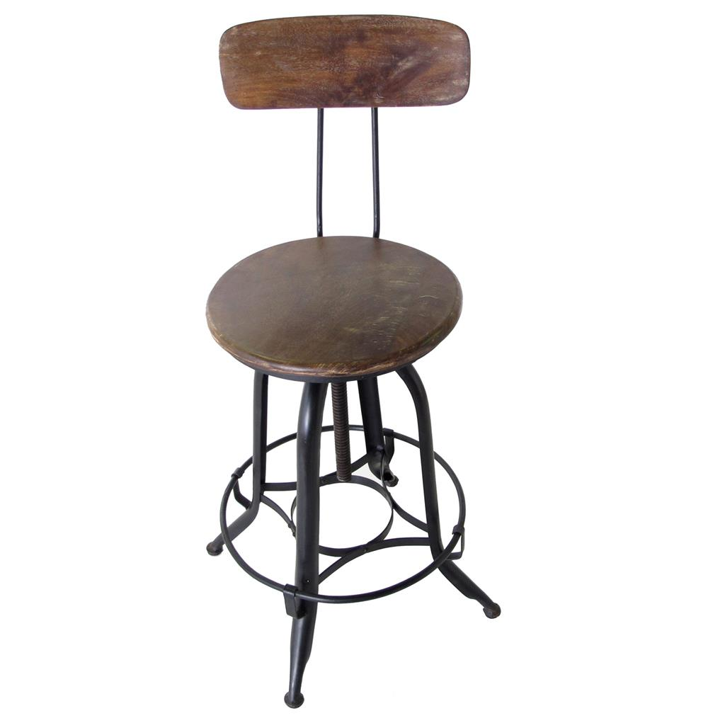 Architect 39 s industrial wood iron counter bar swivel stool for Counter stools with backs