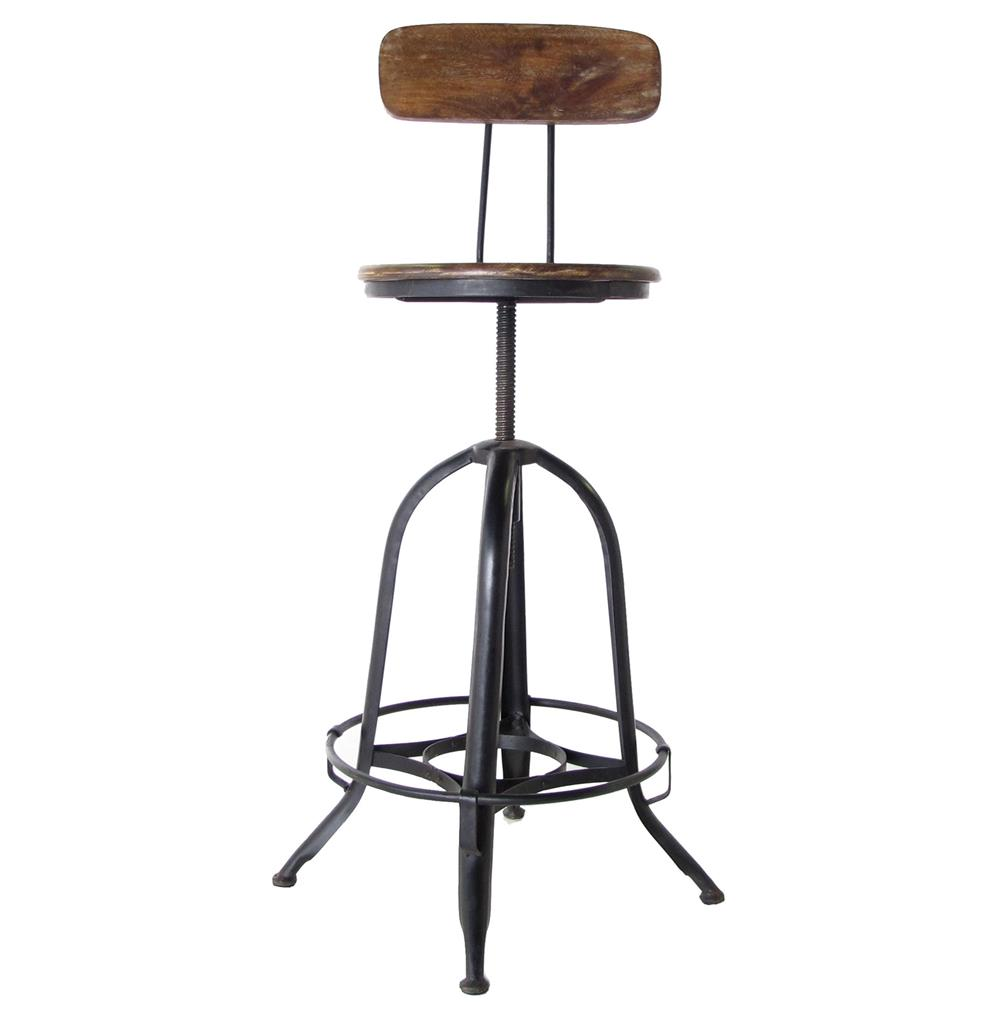 Architectu0027s Industrial Wood Iron Counter Bar Swivel Stool with Back | Kathy Kuo Home  sc 1 st  Kathy Kuo Home & Architectu0027s Industrial Wood Iron Counter Bar Swivel Stool with ... islam-shia.org
