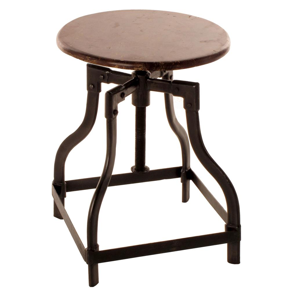 Reclaimed teak wood adjustable height piano stool kathy