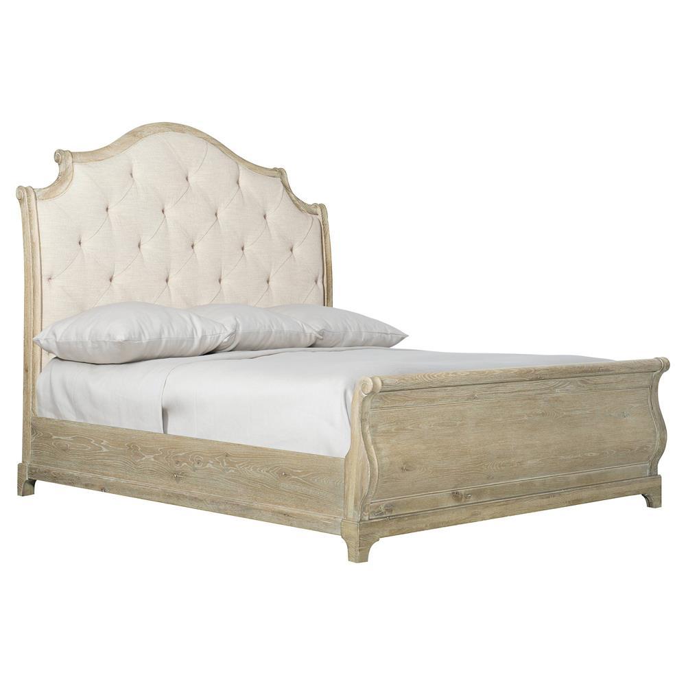 Scarlett Rustic Lodge White Upholstered Tufted Light Wood ...