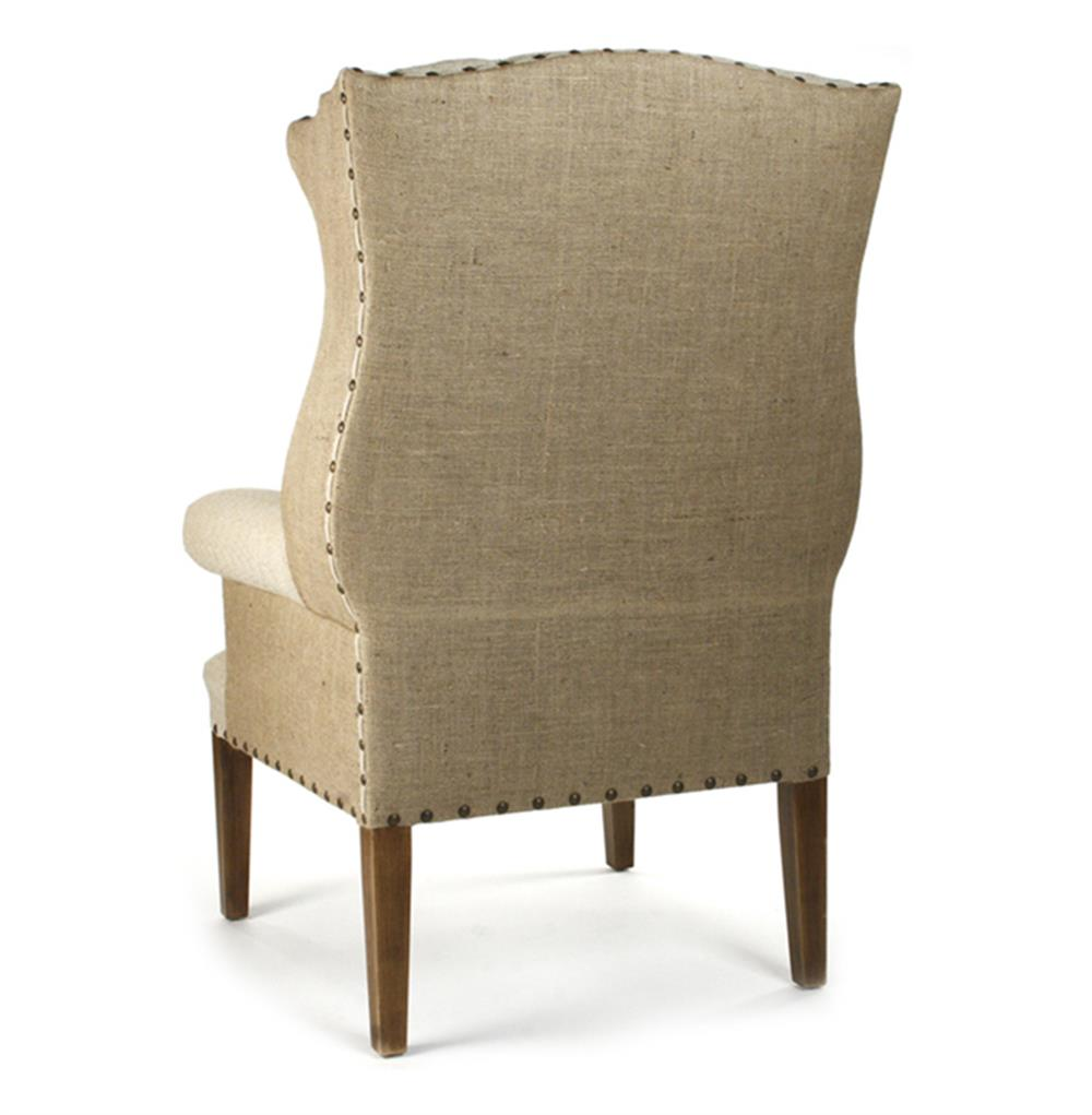haircut chair gilles country rustic tufted burlap linen wing chair 2868