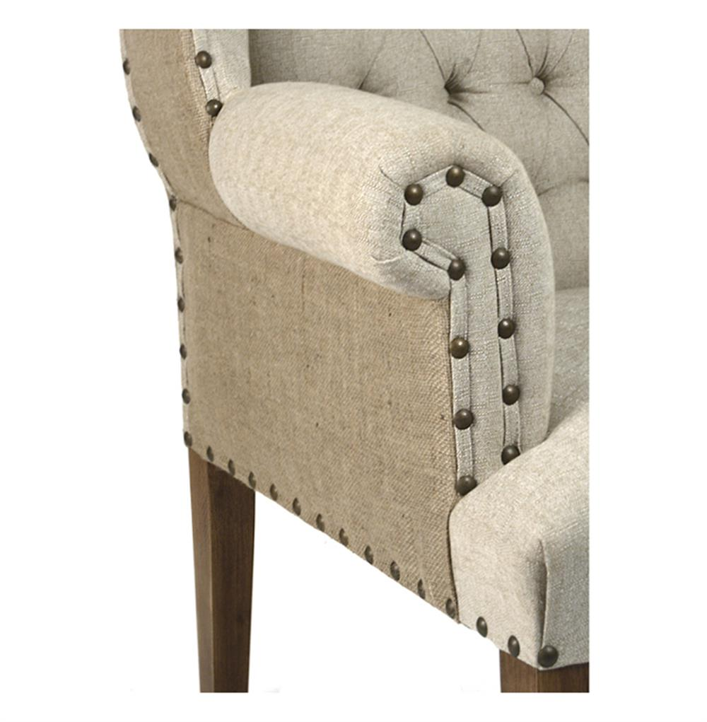 Beau ... Gilles French Country Rustic Tufted Burlap Linen Wing Chair | Kathy Kuo  Home ...