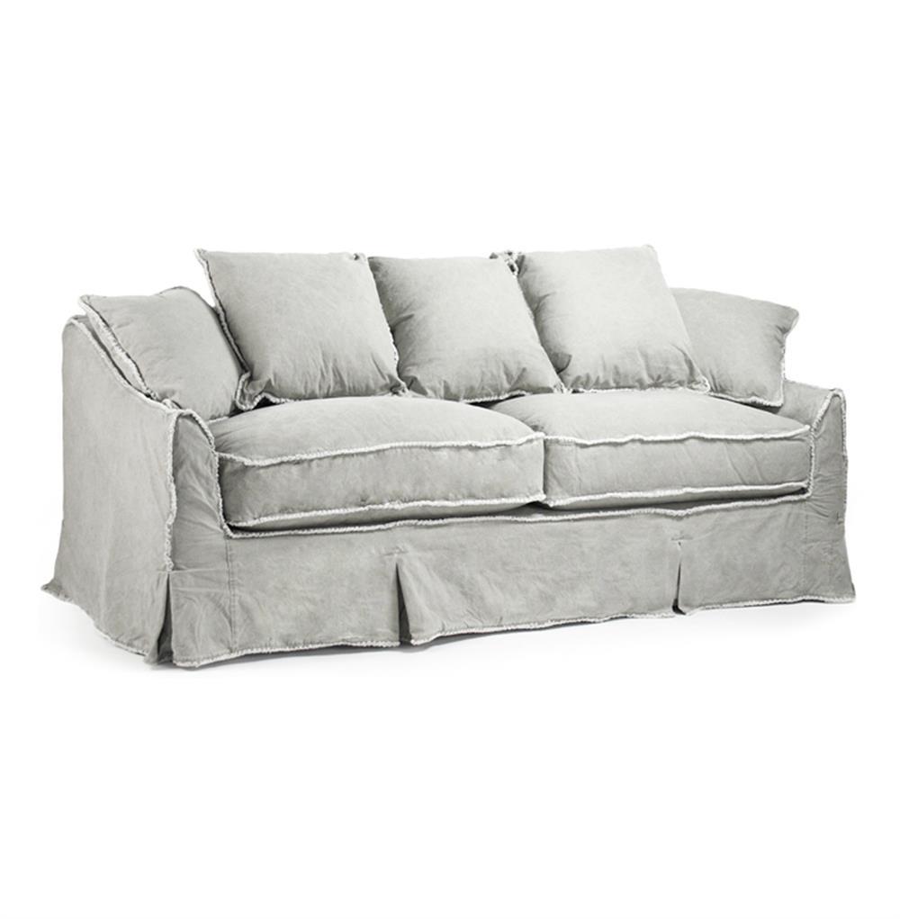 kelvin stonewash canvas fog cottage style 3 seat sofa kathy kuo home. Black Bedroom Furniture Sets. Home Design Ideas