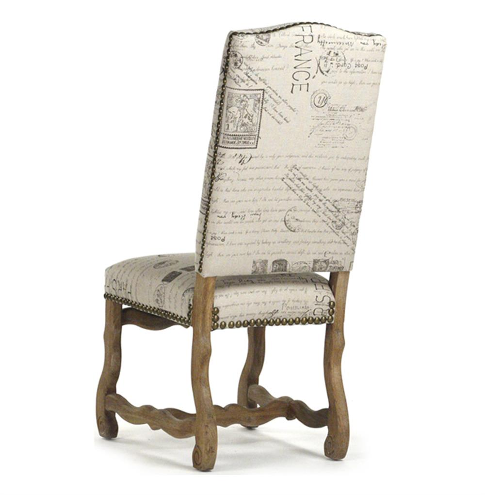 French Country Script Chairs ~ Marcelle french country linen script camel back dining chair