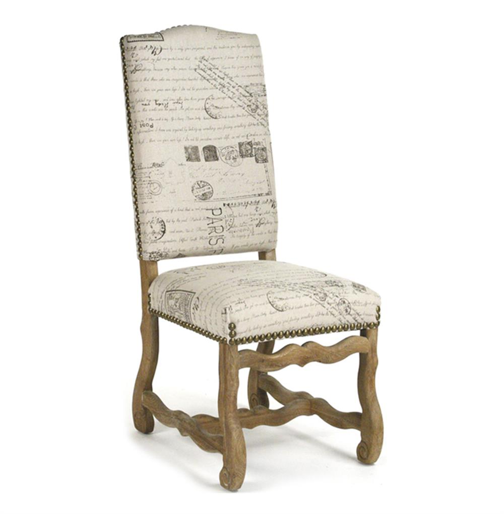 Marcelle French Country Linen Script Camel Back Dining Chair