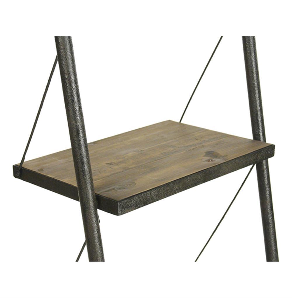 Martina industrial loft reclaimed wood ladder bookcase - Reclaimed wood ladder shelf ...