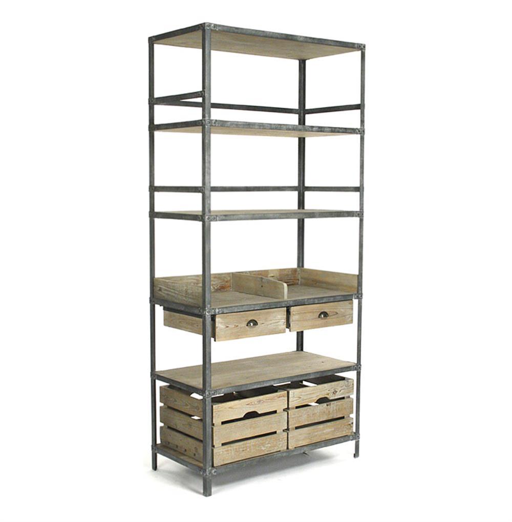 Ardsley Industrial Loft Grey Metal Bakers Rack Bookcase