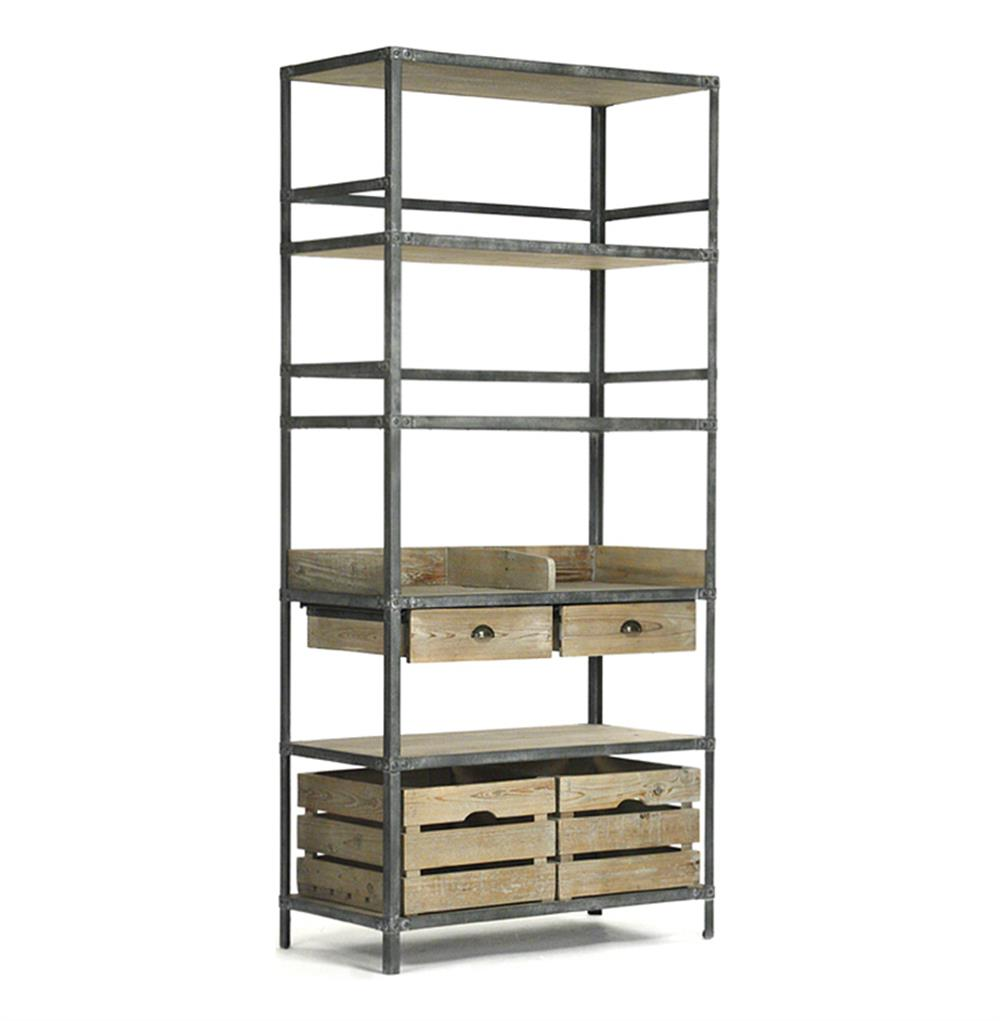 Industrial Loft Grey Metal Bakers Rack Bookcase Kathy Kuo Home