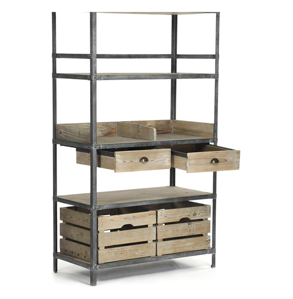 ardsley industrial loft grey metal bakers rack bookcase kathy kuo home