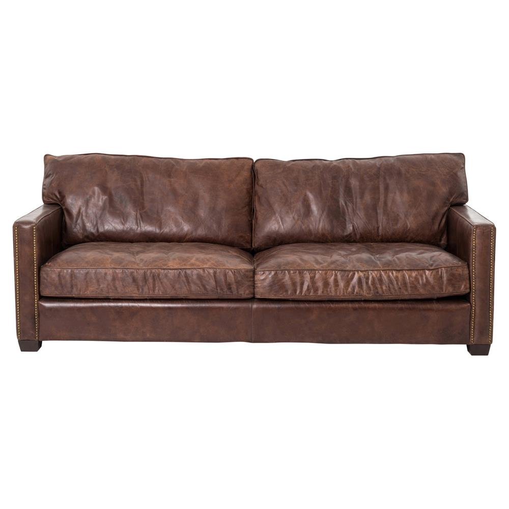 Modern Nailhead Sofa: Darla Modern Classic Brown Leather Upholstered Ash Wood