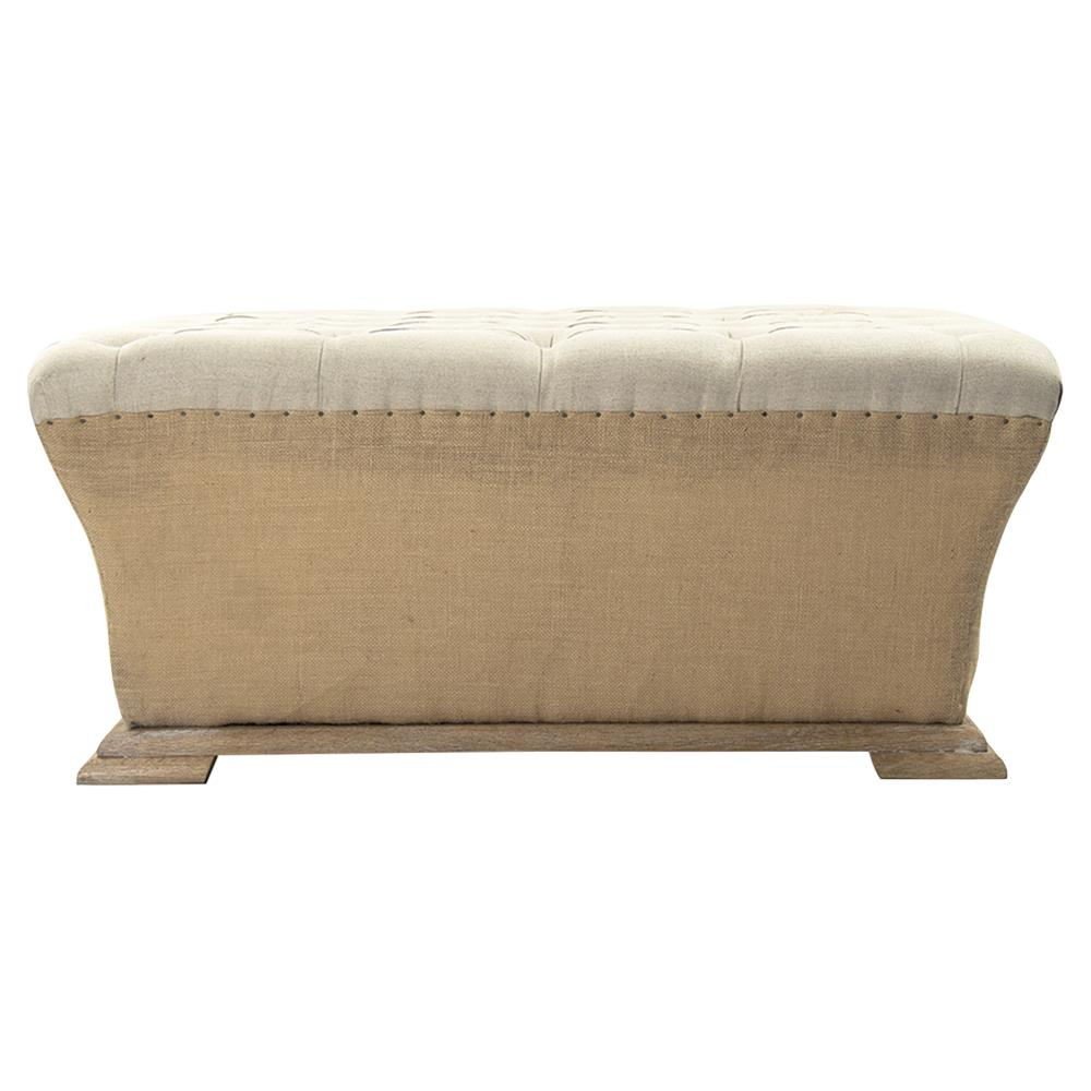Riley french country square linen burlap tufted ottoman