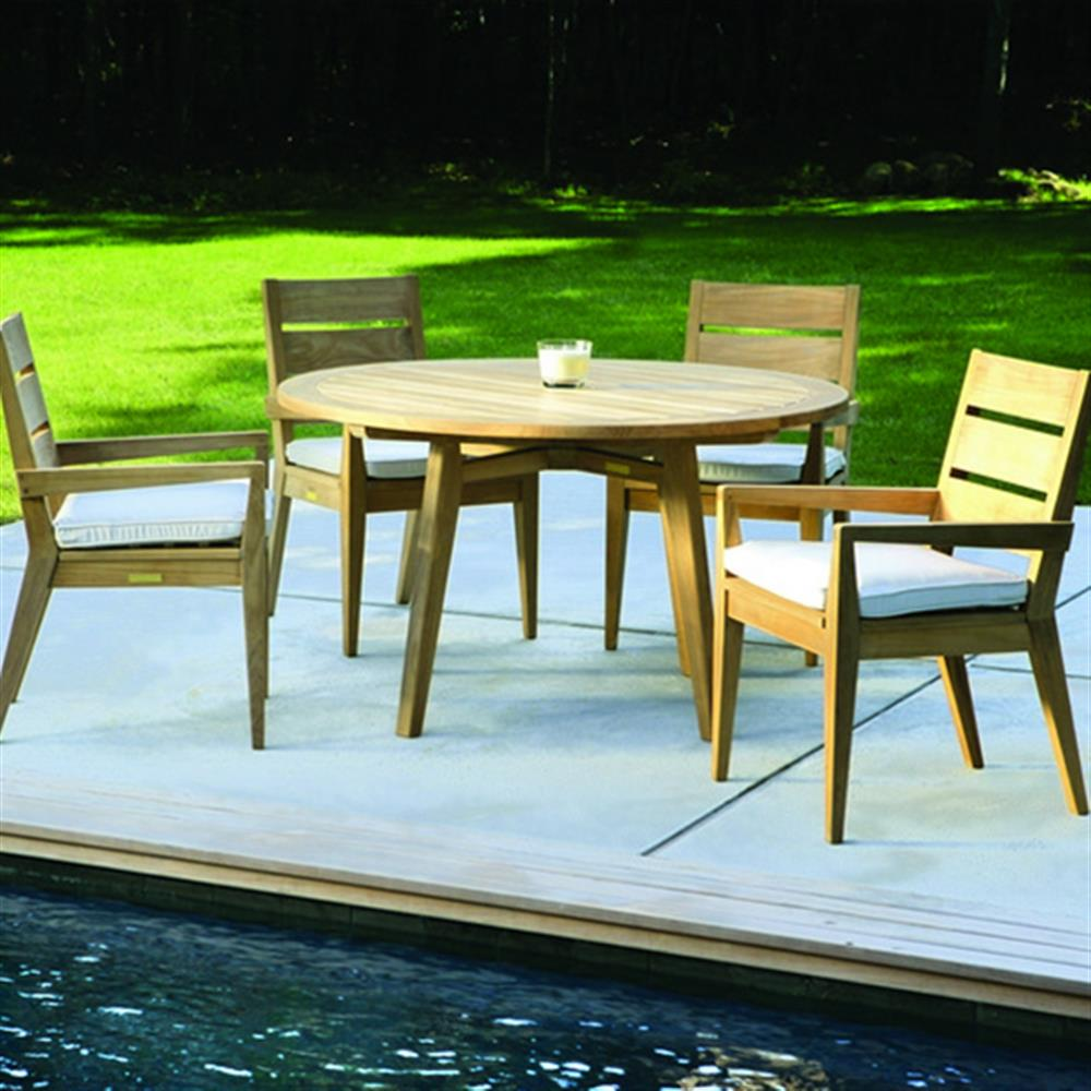 Kingsley Bate Algarve Modern Clic Teak Outdoor Round Dining Table 52 Inch Kathy Kuo