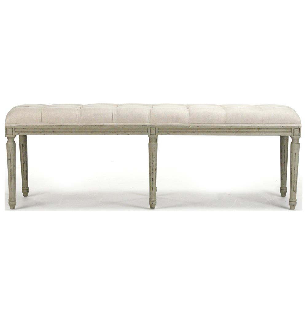 French Country Louis Xvi White Tufted Oak Olive Green Long Bench Kathy Kuo Home