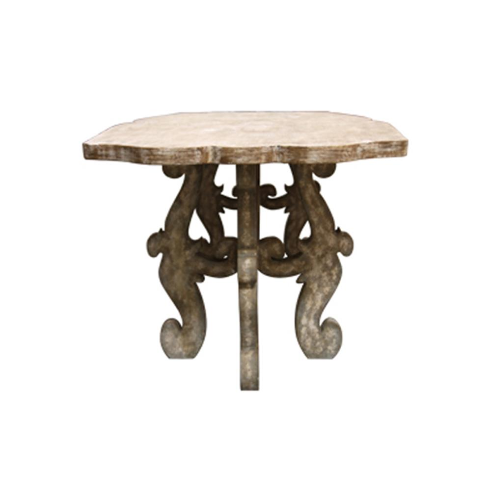 French Country Rustic Scroll Farmhouse Dining Table
