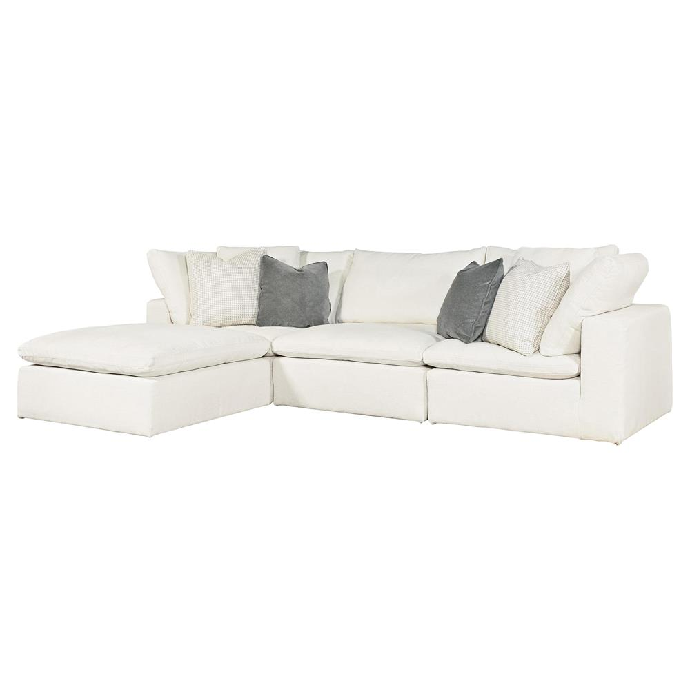 Mysen Modern Classic White Upholstered 4 Piece Sectional Sofa
