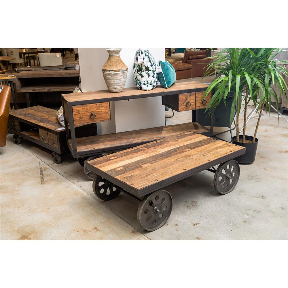 Rowan Industrial Loft Rectangular Distressed Wood Black