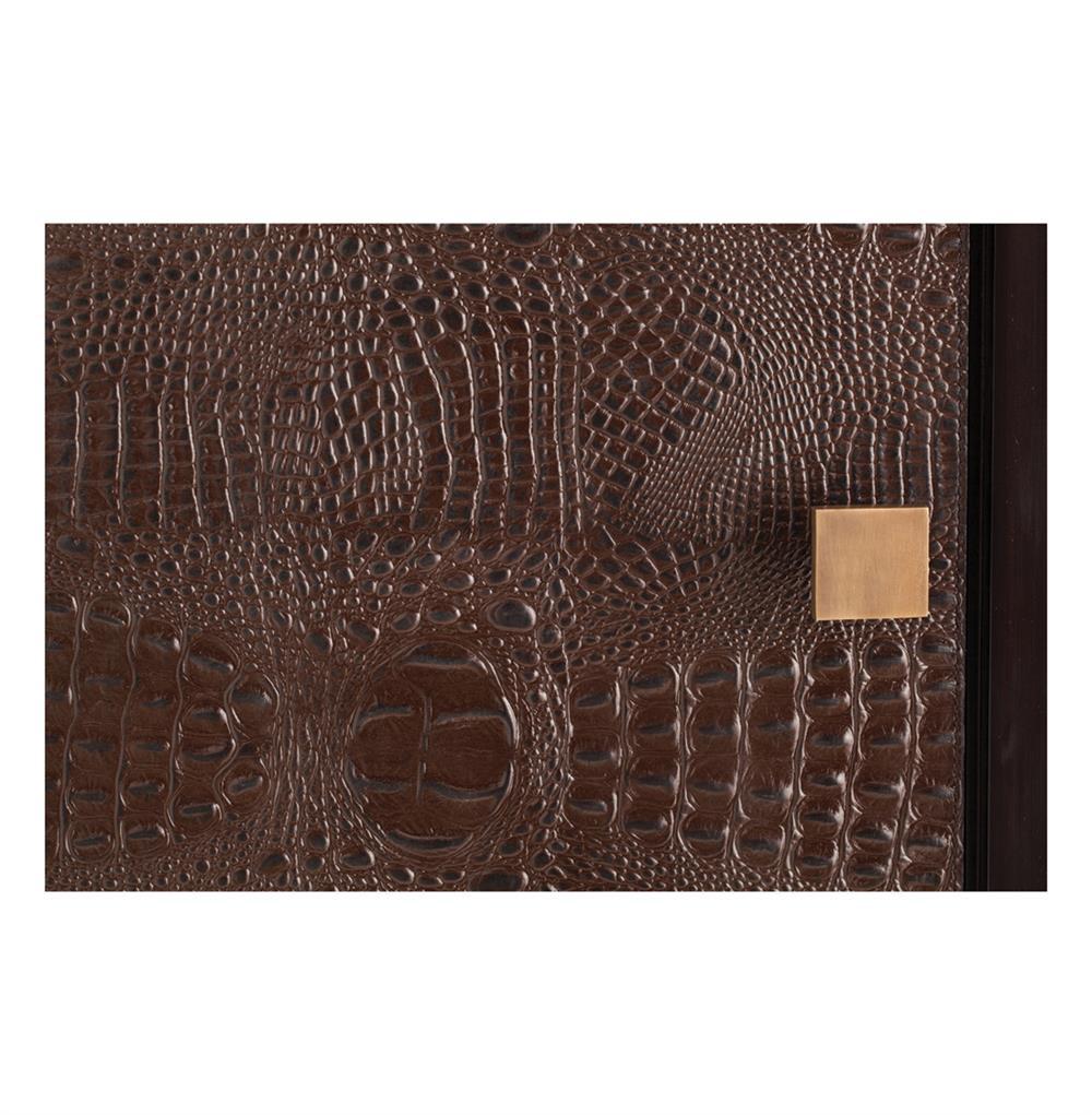Elle Chocolate Crocodile Embossed Leather Single Door Tall
