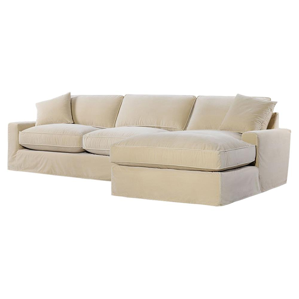 Zara Modern Classic Beige Velvet Upholstered Sectional
