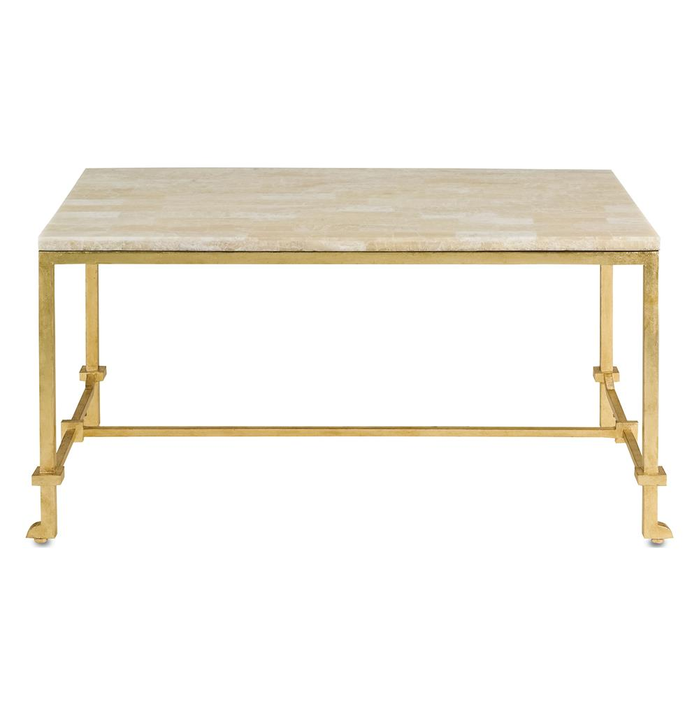 Gold Gilded Coffee Table: Classic Hollywood Regency Gold Leaf Coffee Table