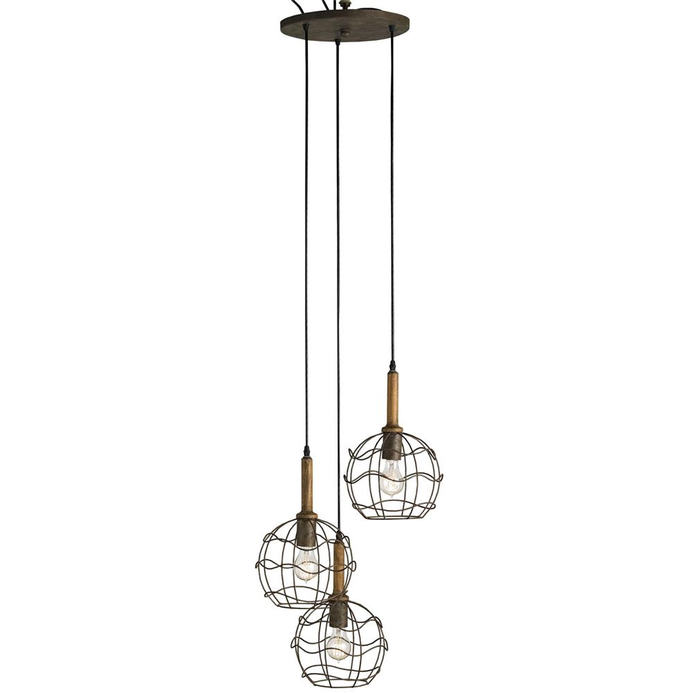 emery industrial loft wire frame trio pendant light