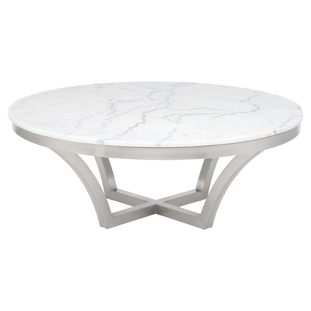 Amelia Hollywood Regency Round White Marble Top Silver Base Coffee Table