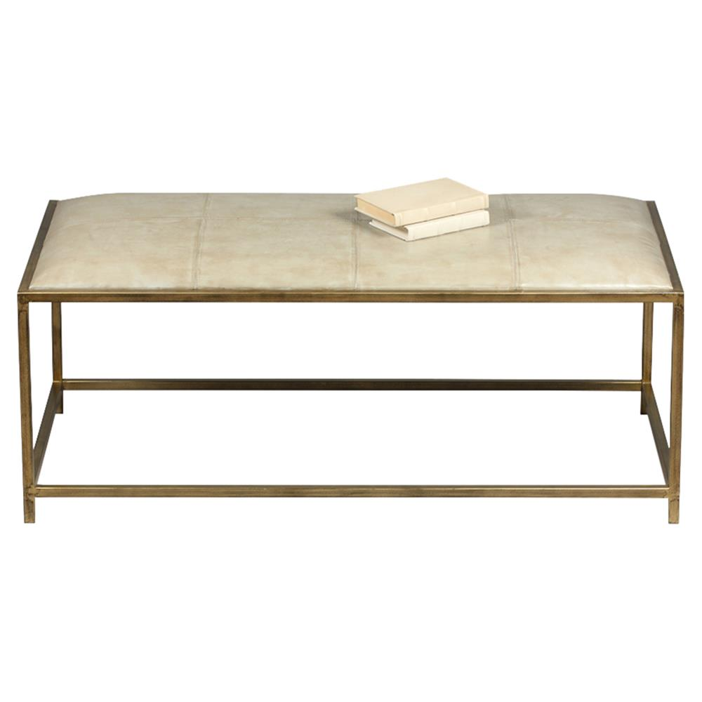 Upholstered Bench Beige: Mercedes Modern Classic Beige Leather Upholstered Brass