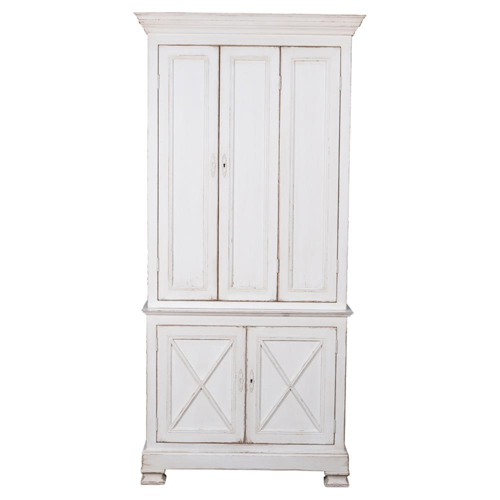White Pine Cabinets: Wendy French Country Distressed White Pine Wardrobe Cabinet