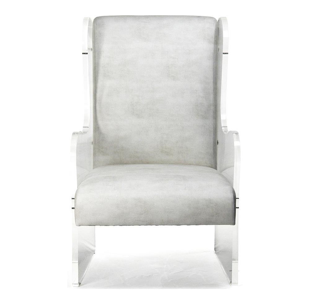 Global Views Acrylic Chair: Modern Art Deco Ivory Faux Leather Acrylic Wing Back Chair