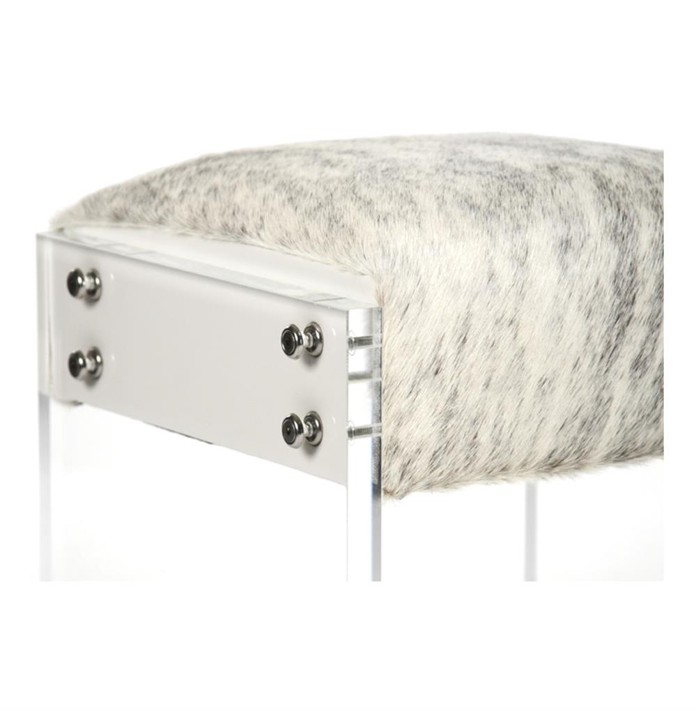. modern art deco cowhide acrylic vanity stool ottoman  kathy kuo home