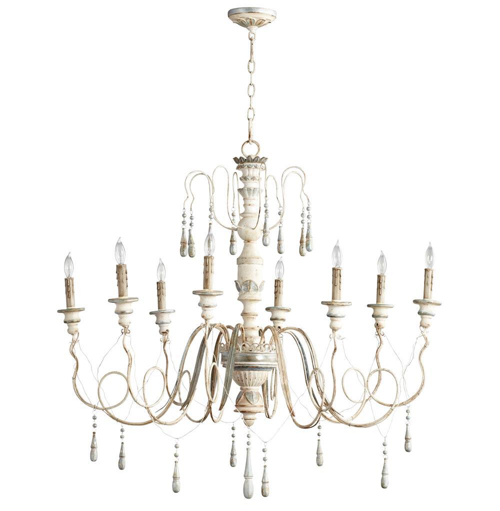 Chantilly french country parisian blue white 8 light French country chandelier