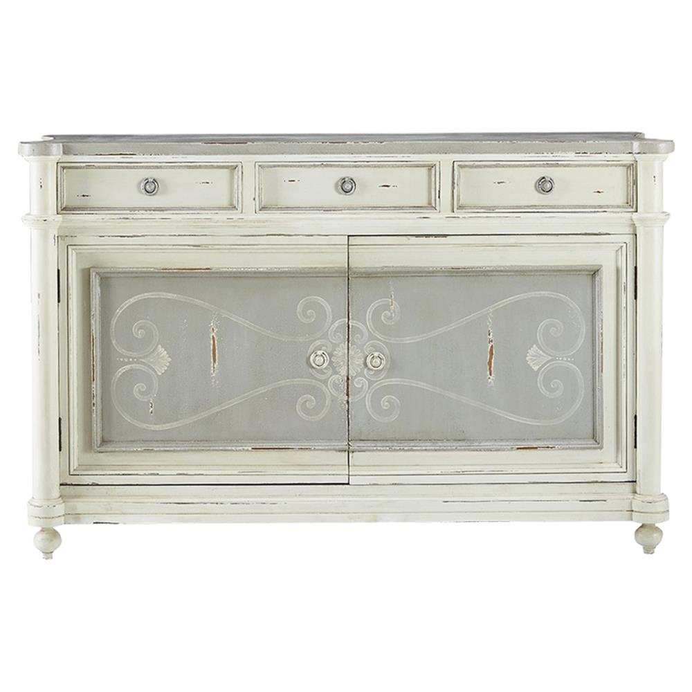 Alder French Country Antique White Distressed Buffet Sideboard