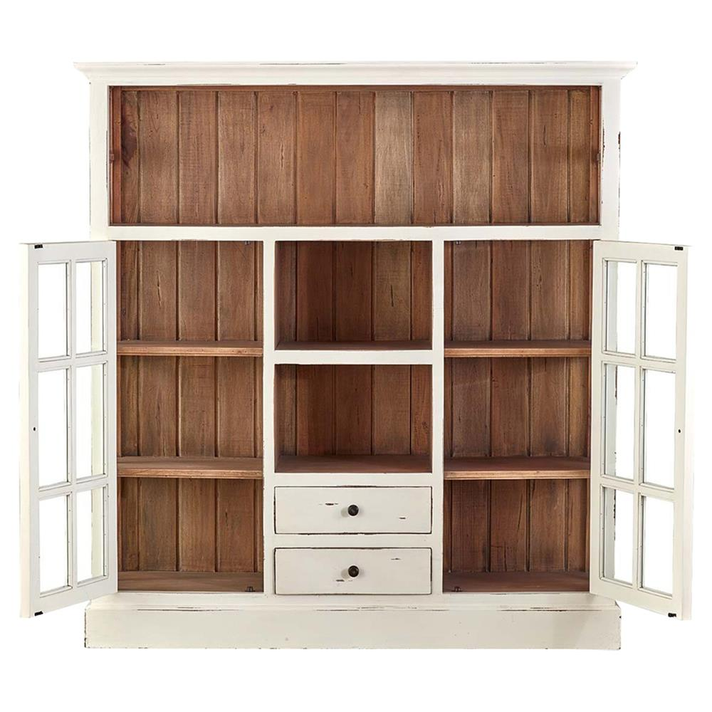 Blake Rustic Lodge Distressed White China Cabinet