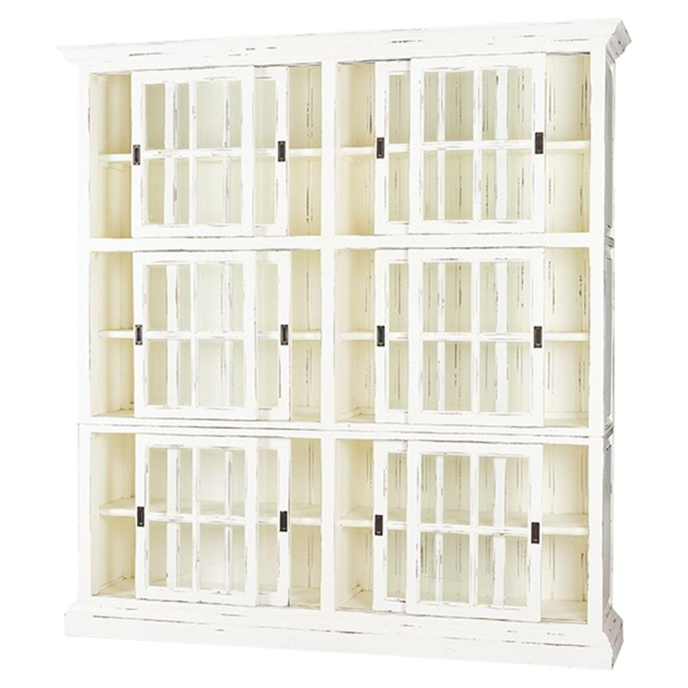 Cromwell Rustic Lodge Distressed White Bookcase