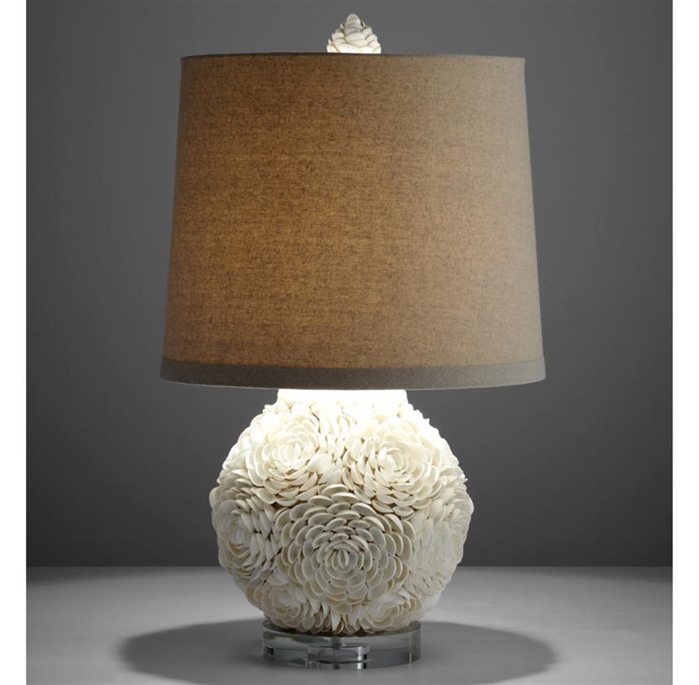 Hallandale Coastal Beach Mum White Seashell Petal Large Table Lamp