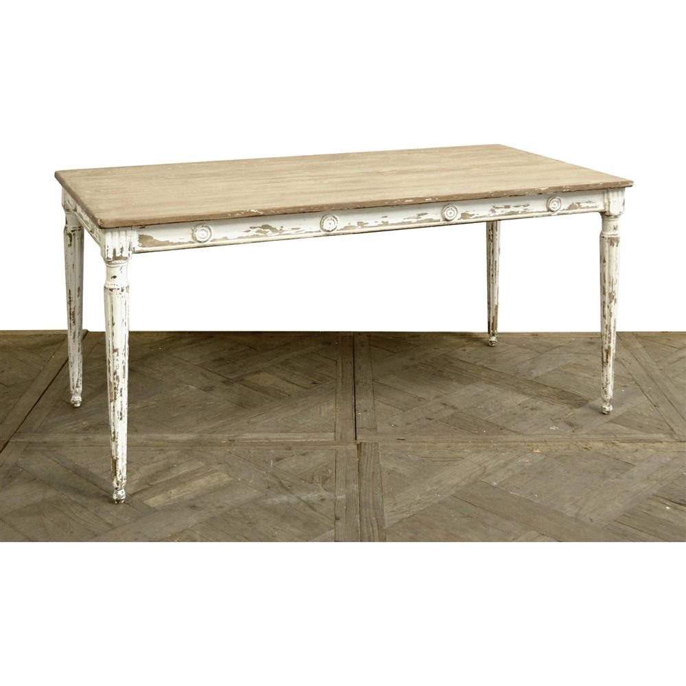 Country White Dining Table: Phil French Country White Pine Wood Rectangular Dining Table
