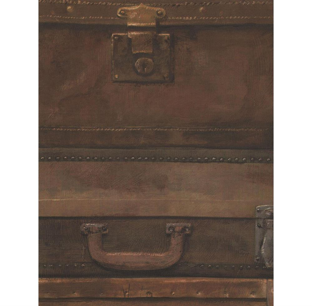 Masculine Vintage Stacked Luggage Wallpaper Leather