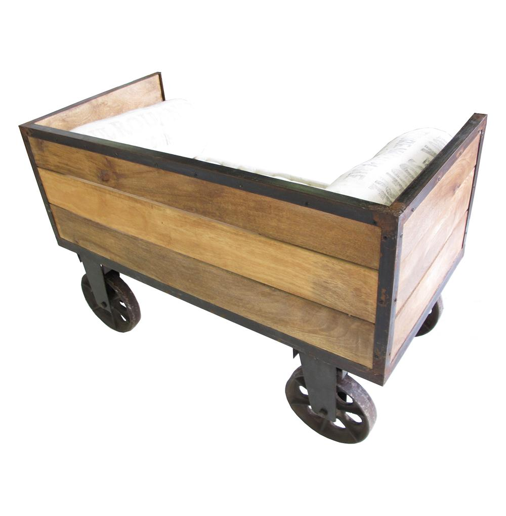 Limoges french industrial small sofa cart kathy kuo home for Sofa industrial
