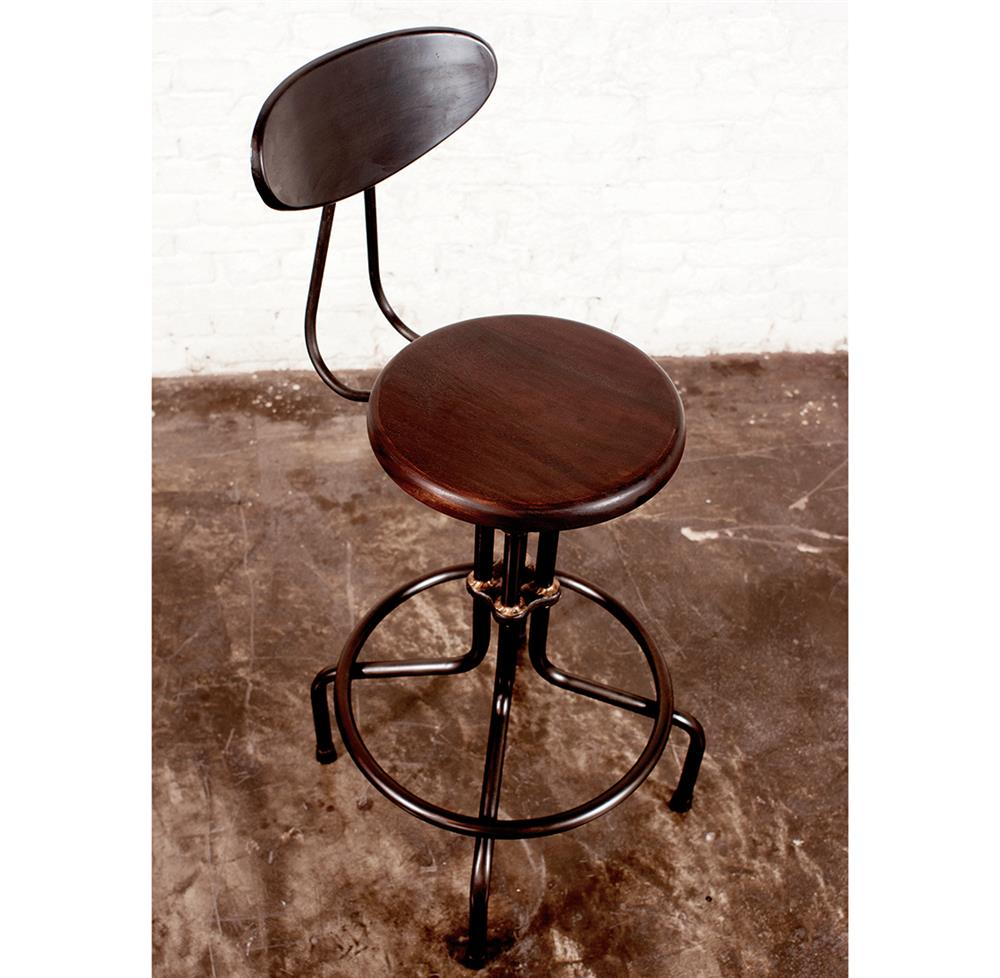 Brexton Adjustable Height Industrial Mahogany Stool With Back