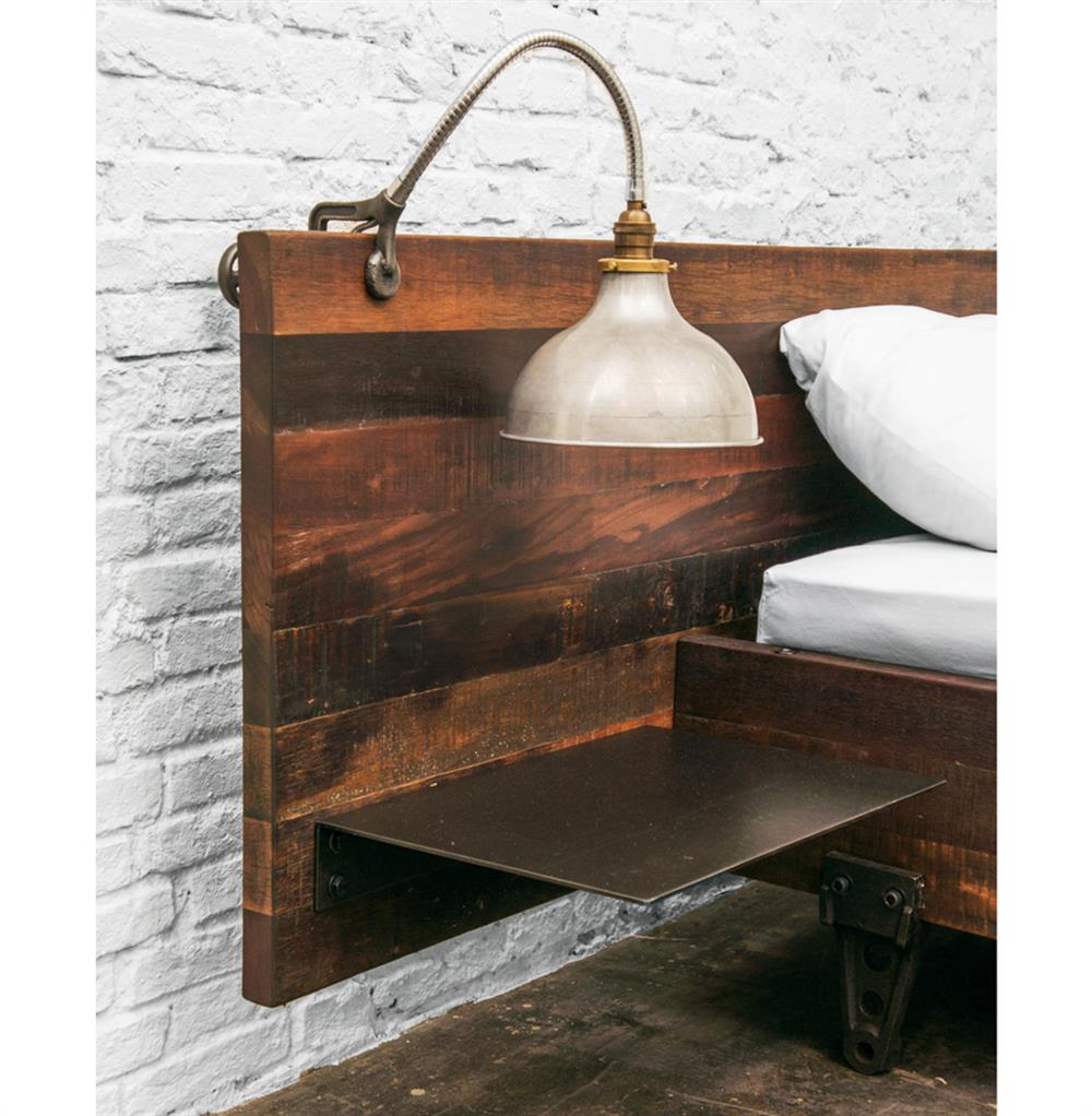 colby reclaimed wood industrial loft queen bed with side tables