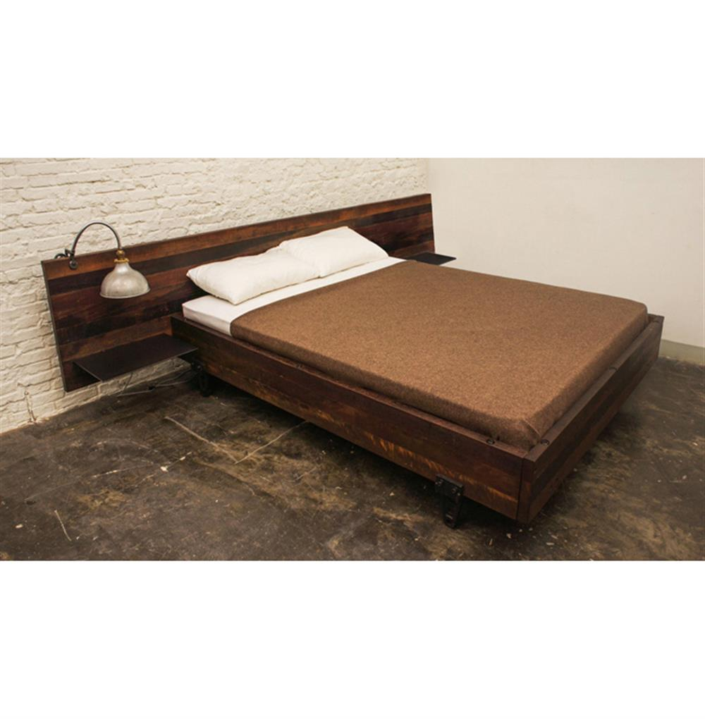 Colby reclaimed wood industrial loft king bed with side for Recycled timber beds