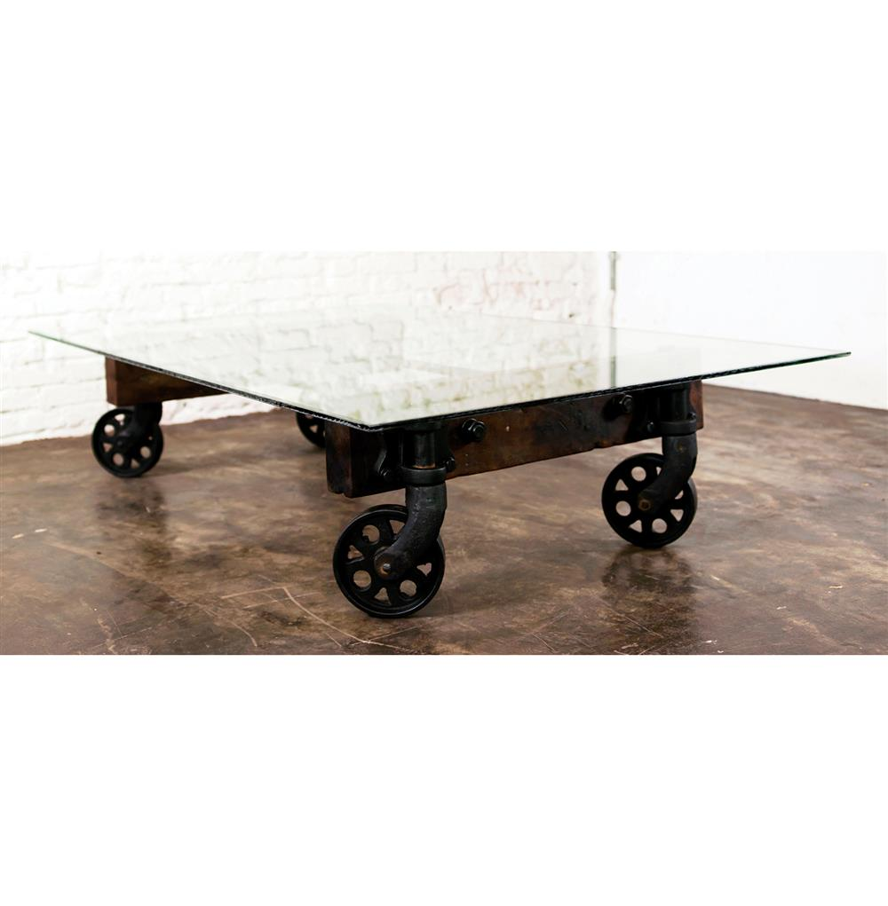 Pittsburgh industrial reclaimed cast iron coffee table cart for Cast iron coffee