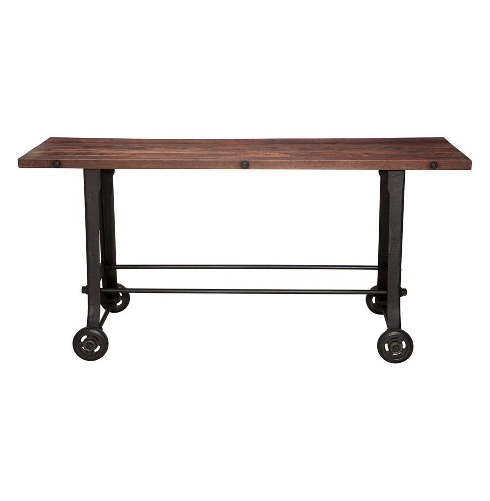 brooklyn industrial reclaimed wood cast iron console bar. Black Bedroom Furniture Sets. Home Design Ideas