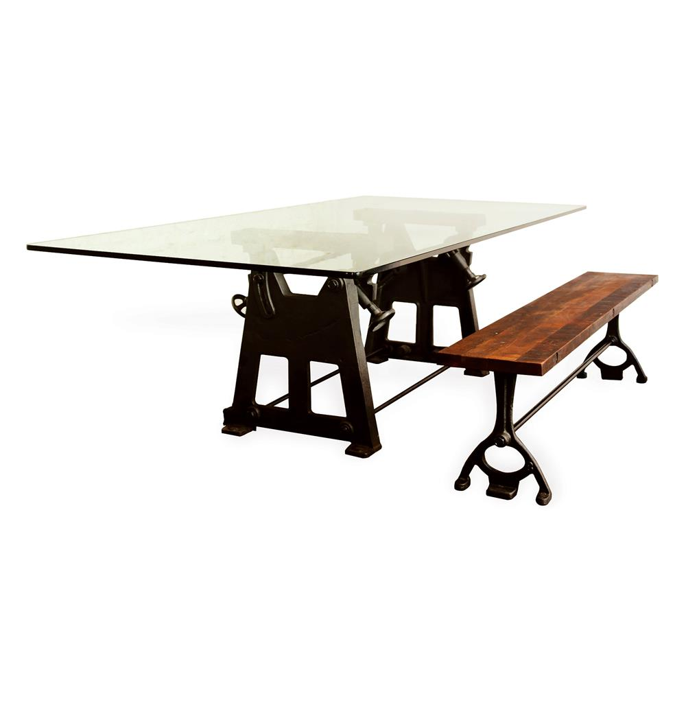 Bartley industrial reclaimed cast iron glass dining table for Cast iron and glass dining table