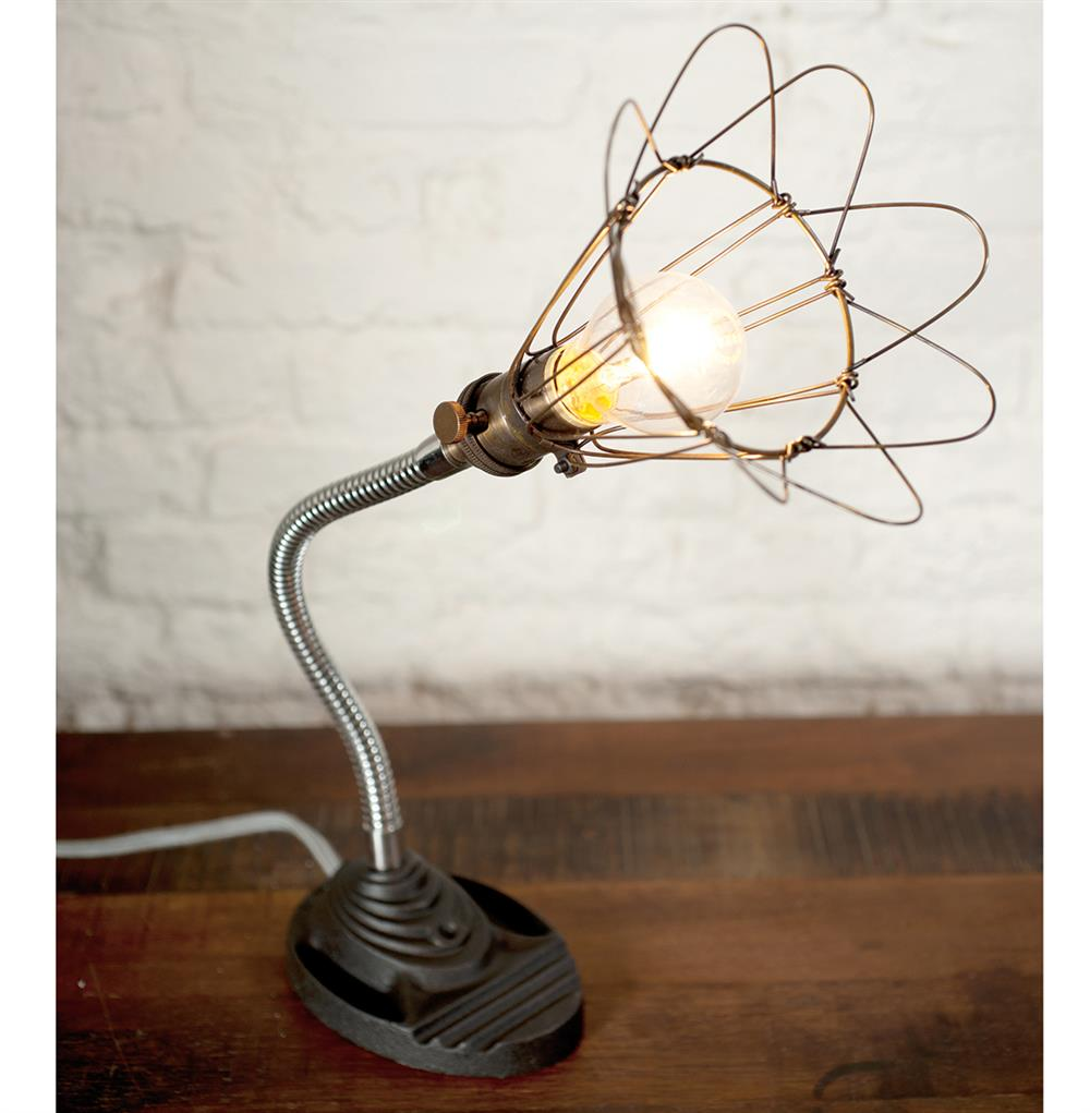 Finley vintage gooseneck cage wire desk lamp kathy kuo home full size greentooth Gallery